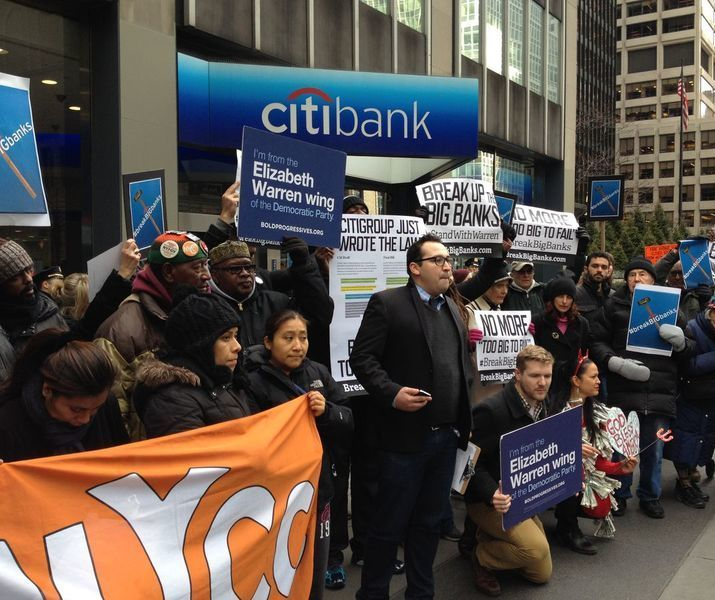 Nyc citigroup break banks events rally    crowd bloombergphoto