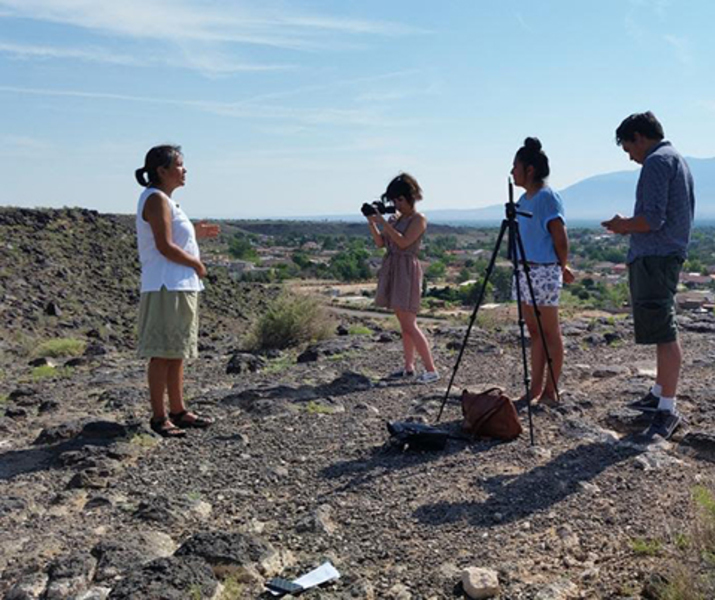 Filming at petroglyphs