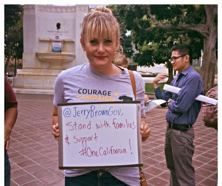 Laura at one california rally at la city hall